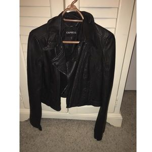 Express faux leather black jacket SzL